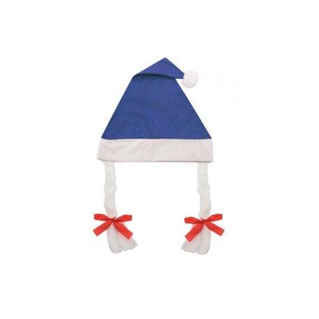 Gorro de Navidad con Trenzas Azul